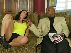 Asli Ames gives a steamy sucking to a mega black cock before it ravishes her walls in a close up shoot