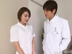 Japanese doctor wants to fuck the the skinny nurse and cum inside her
