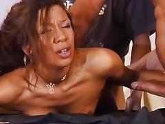 Horny Brazilian babe fucks two cocks