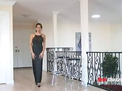 Elegant lady Renae Cruz sucks black cock in an evening gown
