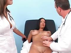 Hot FFM scene along nurses in uniform getting nailed hardcore by a doctor