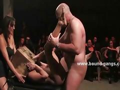 Slut punished in extreme gangbang sex