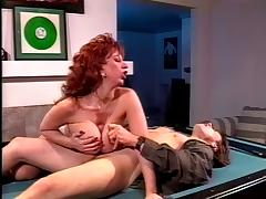 Mature big tits sucks big cock on pool table