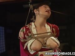 Bondage fetish Asian milf being fingered till orgasm