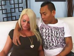 Blonde gets facial cumshot after sucking dick and getting fucked