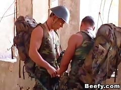 Horny gay soldier plays with his boyfriend's cock and gets spooked