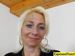 Blonde Czech in nylon stockings slams a dildo up her twat solo