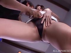 Japanese stunner with a hairy twat takes on orgasmic ride on a stiff pecker