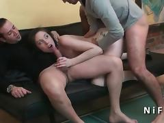 Young amateur french brunette hard double penetrated