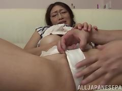 Sexy Asian chick with glasses enjoying a mind-blowing doggy style fuck