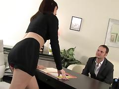 Sluttiest boss in the world devours his dick on her desk