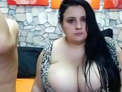 BBW, BBW, Big Tits, Brunette, Couple, Webcam