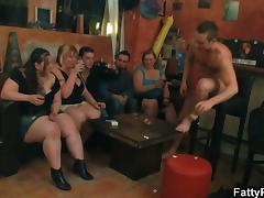 Big tits group striping and sucking