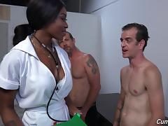 Ebony pornstar has her face coated in jizz after an orgasmic gang bang