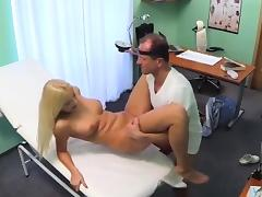 Blonde patient gets creampied