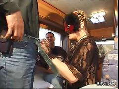 Stocking-clad whore with a pierced pussy enjoying a hardcore threesome