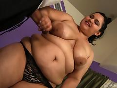He spanks his BBW girlfriend's big ass then fucks her