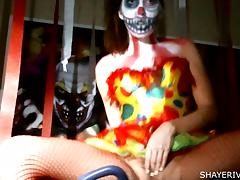 Clown, Clown, Masturbation, Small Tits, Halloween