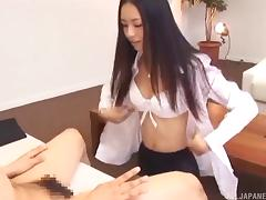 Good looking Asian girl gives a blowjob after an interview