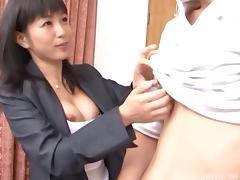 Fantastic Asian office MILF shows off her blowjob skills