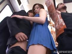 Frottage and a blowjob on the train from a beauty