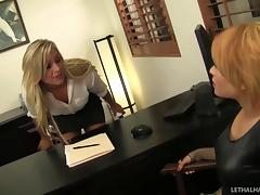 Job interviewer needs her aching pussy licked by a kinky lesbian