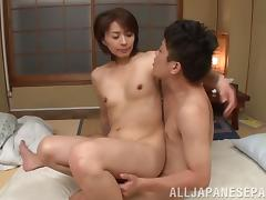 Hairy pussy Japanese slut receives a meaty dick up her vagina