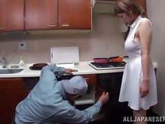 Big tits Japanese housewife has hot sex with the plumber