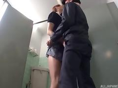 Naughty and tempting Japanese MILF gets a hot rear fuck in the toilet