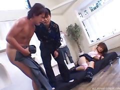 very alluring Japanese schoolgirl gets gang banged and screwed and takes cumshot