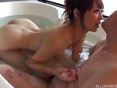 Dirty Asian chick with a gorgeous body sucking a stranger's cock