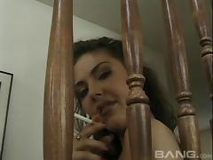 Buxom pornstar get double penetrated on the staircase hardcore