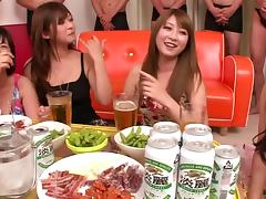 Cool house party turns into a sweaty groupsex action for immaculate Asian cowgirls