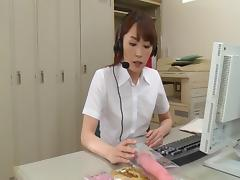 Jun Nada got an exceptional way to deal with sex emotions at work-an erotic masturbation