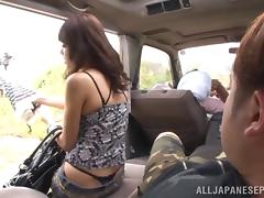 Drop dead gorgeous Asian girl fucking in the back of a car