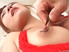 Charming and cute Japanese babe gets screwed in a missionary pose by her boss