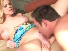 Sexy blonde milf fucks on the sofa