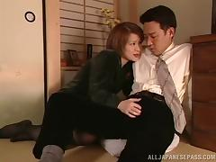 Short haired Japanese babe entices her dude with a cute blowjob before getting screwed deep