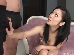 Dark haired Japanese beauty with dropy tits delivers an incredible blowjob in POV