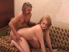 chubby blonde fucked by old man