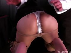 Wet Japanese slut in panties tied up and played with