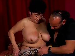 Big tits old broad with a gorgeous shaved pussy gets laid