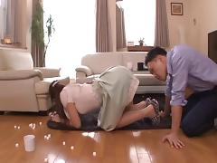 Asian stunner in glasses chokes on a stiff pecker then gets spooked hardcore