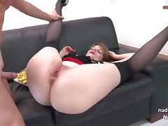 Chubby french slut hard fucking and pussy gaping in 3way
