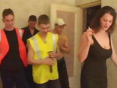 A group of dudes fucks a chick then cum all over her body
