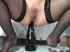 Busty mature fucking enormous dildos