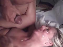 Blonde Swinger MILF gets BBC facial #2