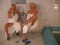 Sweaty sex in the sauna with a big tits milf cock craver