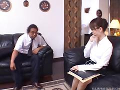 Japanese businessman hires a new assistant then drops the cock in her