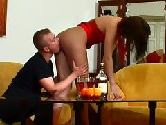 Her skintight dress and pantyhose drive the guy wild for sex